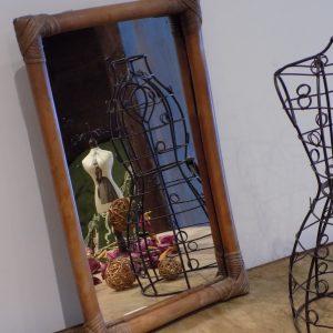 Miroir bambou / rotin – vintage