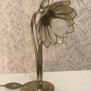 Lampe Lotus en laiton et nacre