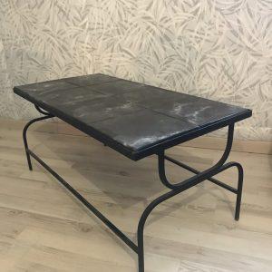 table basse design – carrelée piétement en fer